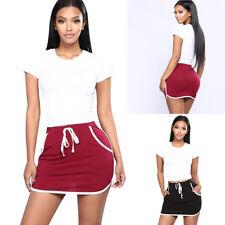 Womens High Waist Ladies Stretch Pencil Bodycon Sports Plain Short Mini Skirt WZ