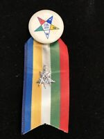 Eastern Star Button Ribbon With Masonic Charm Lot 574