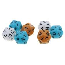 Plastic 7x Muliti Sided English Letters Dices D20 Gaming Dice Size 16mm