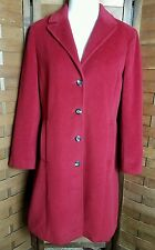 CALVIN KLEIN Womans Angora Wool Long Dress Coat Red Size 10 Medium M Soft Lined