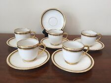 JPL Jean Pouyat Limoges White with Greek Key Demitasse Cup & Saucer Sets ~ 5