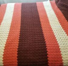 "Afghan / Throw Blanket 39"" x 73"" Squares brown cream yellow orange"