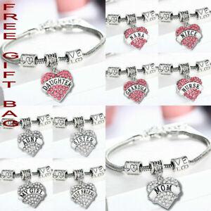 Fashion Family Bangle Charm Bracelet Love Words Heart Women Crystal Jewellery UK