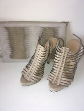 ALDO Nude Beige Suede Leather Strappy Platform High Heel and Matching Bag