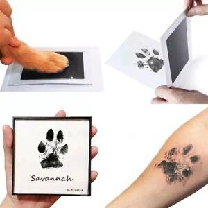 2X Pfotenabdruck in Set Hund Katze Baby Handabdruck Schwarz