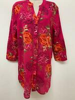 NEW Ex Bon Marche Pink Floral Print Pure Cotton Shirt Tunic Top Size 10 - 24