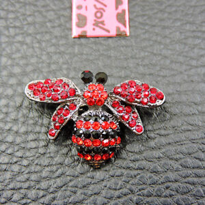 Betsey Johnson Shine Red Cute Bee Insect Crystal Brooch Pin Gifts