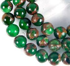 "6mm Emerald Green in Quartz with Pyrite / Gold brown Vein Round Beads 15.5"""