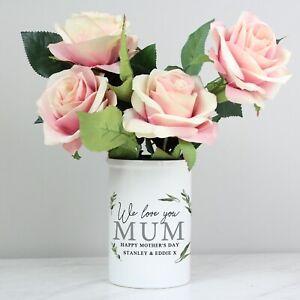 Personalised Botanical Flower Straight Sided Flower Pot Vase -  Mum Grandma Nan