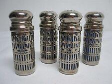 4 VINTAGE GODINGER SILVERPLATE W COBALT BLUE GLASS SALT + PEPPER SHAKERS