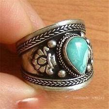 to do Big Tibetan Natural Heart Turquoise Gemstone Dorje Amulet Thumb Ring