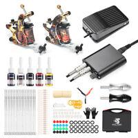 Complete Tattoo Kit Professional 2 Machine Tattoo Kit  Case GUN Ink