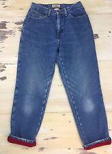 LL BEAN - Vtg 90s Fleece-Lined Blue Denim High Waist Mom Jeans, Womens 8 Reg