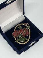 Vintage Fish & Crown Gold Tone Cloisonne Floral Brooch Pretty Costume Jewellery