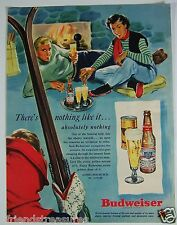 Budweiser Vintage Print Ad 1949 Beer Ski Lodge Skiing Winter Fireplace Couple