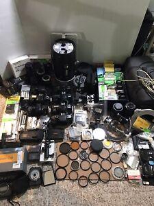 Massive Camera Lot Huge Value Vintage Lighting, Lenses, Filters, Accessories