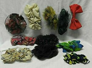 HAIR CLIPS 11 DIFFERENT COLOURED & STYLE MATERIAL HAIR BOW ROUND SCRUNCHY STYLES