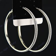 Fashion Jewelry 5Pairs Silver P Frosted Womens Hoop Earrings Wholesale Lots New
