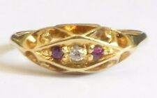 3 STONE red RUBY & diamond ring Quality 18ct yellow gold setting Well made