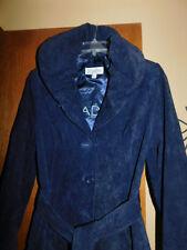 BRADLEY BAYOU Navy Blue Suede A Line Swing Coat Size L to XL BEAUTIFUL