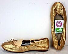 Sanuk Womens Ballet Flat size 6 M Metallic Gold Distressed Textile Shoes WF55