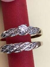 Ladies 14k Solid Yellow Gold Diamonds Wedding Ring Band Bridal Set