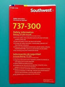 2016 SOUTHWEST AIRLINES SAFETY CARD--737-300