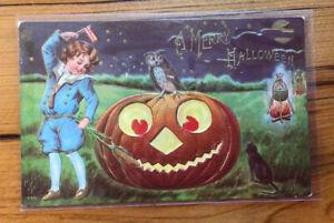 Antique MERRY HALLOWEEN Postcard Full Moon Jack O' Lantern Black Cat Owl (#1273)