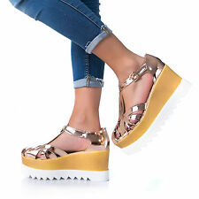 MFORSHOP scarpe donna sandali ragnetto doppia zeppa flatform cinturino fibbia A7