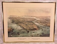 Antique New York Brooklyn Color Lithograph in Frame Thomas Muller Ptg by Simpson