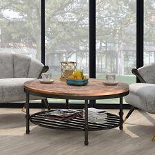 Round TREXM Hillside Rustic Natural Coffee Table w/ Storage Shelf Wood Brown
