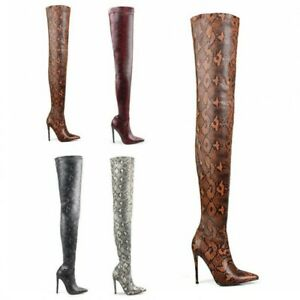 Womens Snakeskin Print Long Over The Knee Thigh Boots Stretch High Heel Clubwear