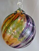 Glass Eye Studio Hand Blown Classic Multi Mardi Grass Twist Round Ornament 166L