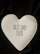RAE DUNN 2018 LL Wedding Bridal Heart Plate - BEST DAY EVER