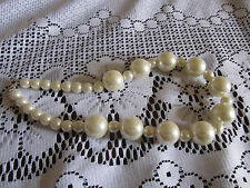 """Shiny Cream Faux Pearl Plastic Bead Necklace - 17"""" long"""
