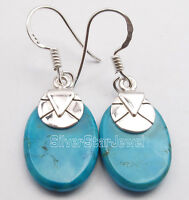 "925 Sterling Silver Natural Flat TURQUOISE Earrings 1.4"" Grandparent's Day Sale"