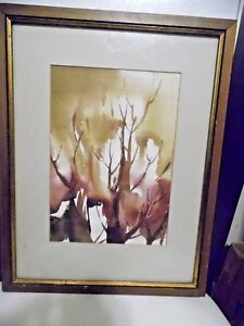 """1971 Abstract Impressionist  Watercolor  Painting """"TREE TOPS"""" Maurjo Reser"""