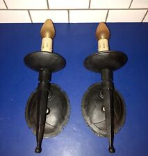 Wired Pair Antique Black Gothic Wall Sconces Large Wall Fixtures 53D