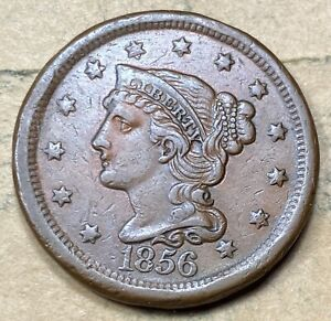 1856 Braided Hair Large Cent  XF/AU