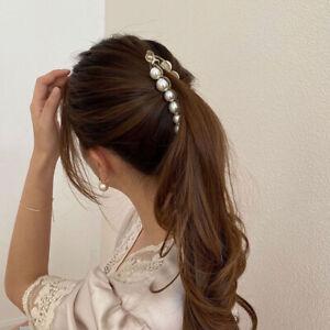 Pearls Banana Hair Clip Headdress Ponytail Hairpin Clamp Style Hair Accessories