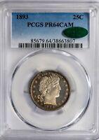 1893 25C Barber PCGS PR64 CAM *CAC-Verified* Cameo Proof Quarter!
