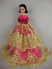Gold and Hot Pink Gown with Sequins Made for Barbie Doll