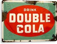 Double Cola Soda Pop Advertising Vintage Retro Rustic Wall Decor Metal Tin Sign