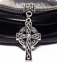 CELTIC CROSS_Bead for Silver European Charm Bracelet_Irish Knot Spiral Pagan_E62