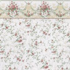 Dolls House Sonata Pink Miniature Print Wallpaper 1:12 Scale 3 Sheets