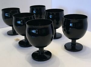 """6 BLOCK Crystal """"CAPERS"""" Wine goblets (Portugal) in BLACK 4 1/2"""" set of 6 RARE!"""