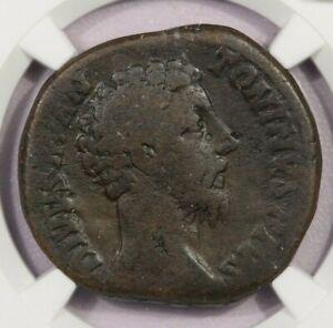 161-180 AD Roman Empire Mar. Aurelius AE Sestertius NGC VG B-8