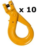 10 x 8mm Clevis Self Locking Hook G80 Alloy Steel Lifting 4x4 Chain Rigging