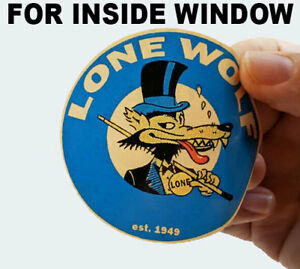 """Pair 3"""" Lone Wolf Stickers, INSIDE WINDOW / Glass, Hot Rod Retro Vintage Decal"""