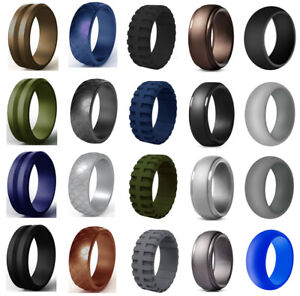 Men Women Fashion Punk Sport Black Silver Gold Rubber Ring Safe Band Collections